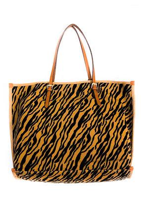 Street Level Handbags Tiger Canvas Print Tote
