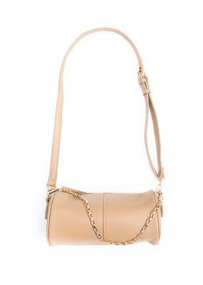 Street Level Handbags Nude Cylinder Crossbody w Double Chain