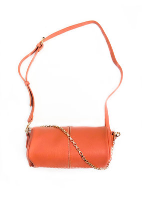 Street Level Handbags Coral Cylinder Crossbody w Double Chain