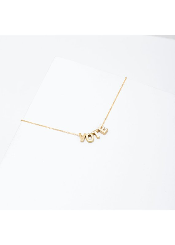 Larissa Loden 24k Gold Plated VOTE Necklace