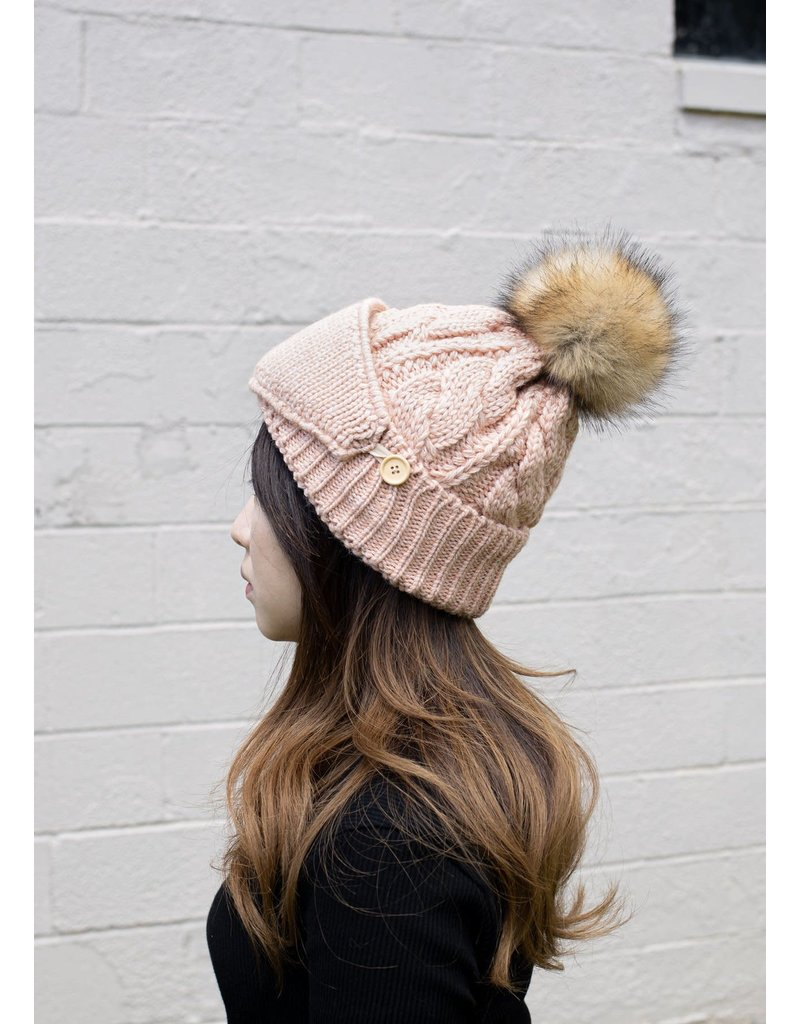 Look By M Pompom Blush Hat w Ribbed Mask