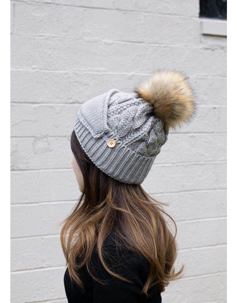 Look By M Pompom Grey Hat w Ribbed Mask