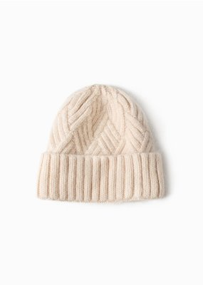 Look By M Chevy Woven Ivory Beanie