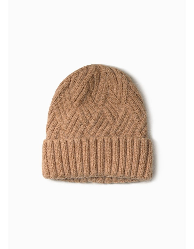 Look By M Chevy Woven Camel Beanie