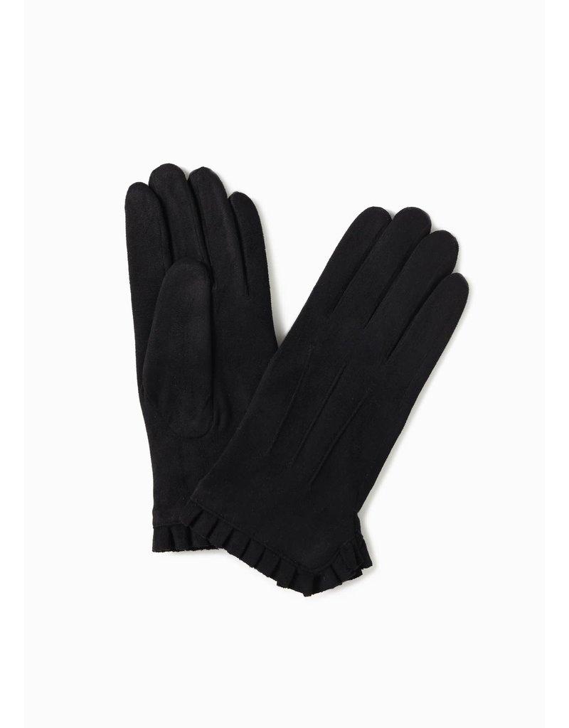 Look By M Basic Black Wrist Ruffle Gloves