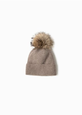 Look By M Taupe Cashmere Blended Ribbed Knit Pom Pom Beanie