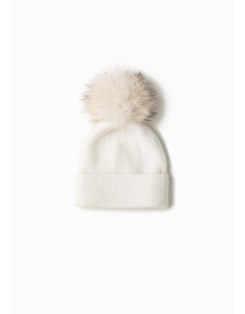 Look By M White Cashmere Blended Ribbed Knit Pom Pom Beanie