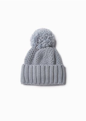 Look By M Cashmere Blended Chunky Waffle Pom Hat Dusky