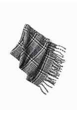 Look By M Black Boucle Enlarged Houndstooth Scarf