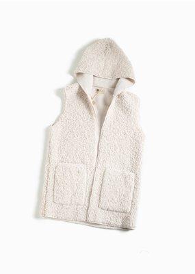 Look By M Fleece Teddy Ivory Hoodie Vest