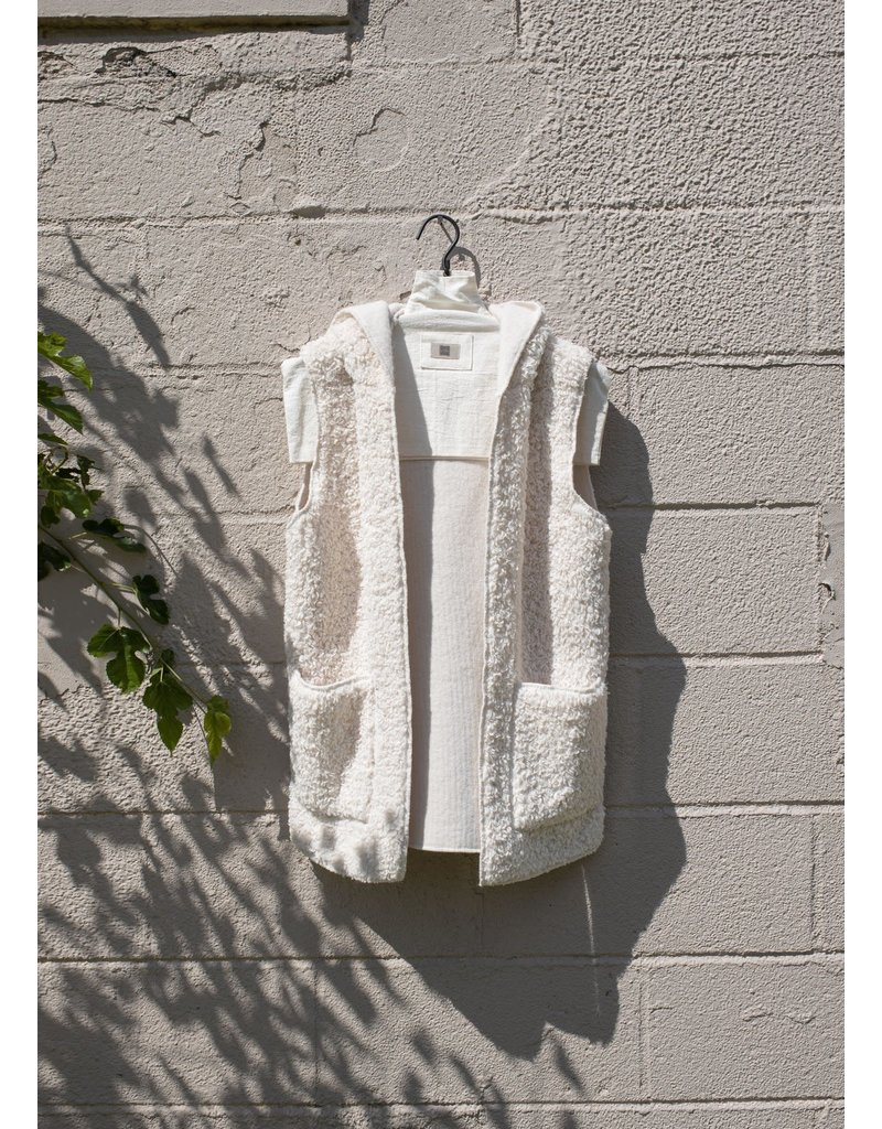 Look By M Fleece Teddy Ivory Hoodie Vest