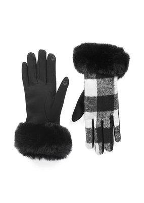 COCO + CARMEN White & Black Buffalo Check Faux Fur Cuff Touchscreen Gloves
