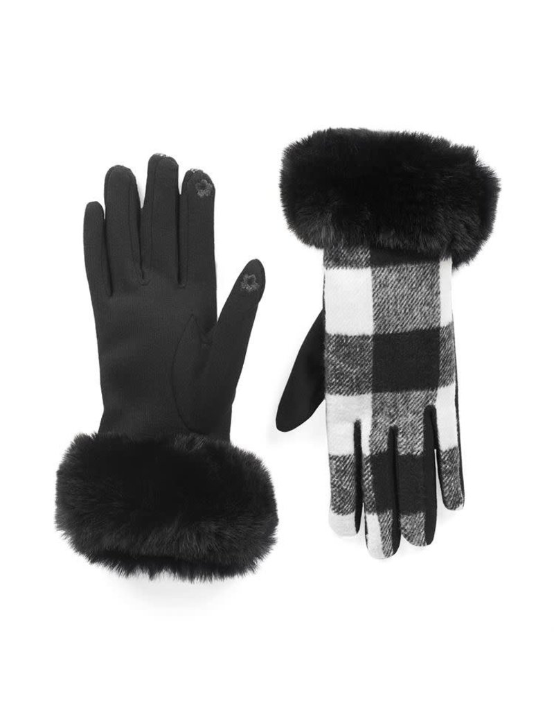 COCO + CARMEN White & Black Buffalo Check Faux Fur Cuff Touchscreen Gloves