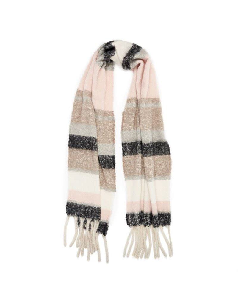 COCO + CARMEN Supersoft Stripe Pink Natural Oblong Scarf