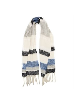 COCO + CARMEN Supersoft Stripe Denim Grey Oblong Scarf