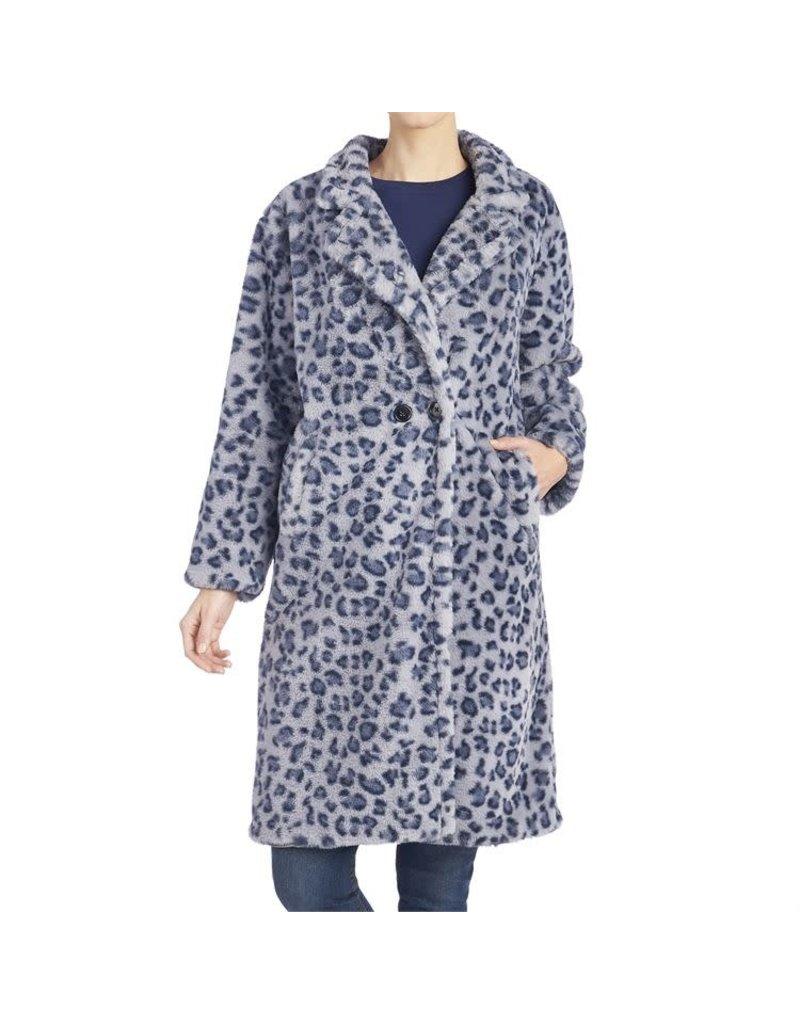 COCO + CARMEN Zsa Zsa Faux Fur Blue Leopard Print Coat S/M