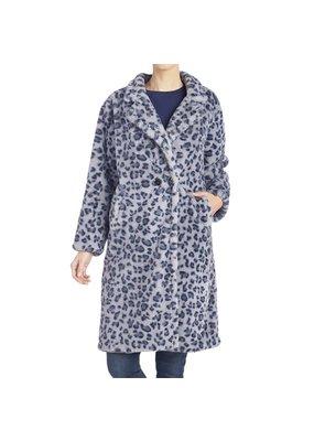 COCO + CARMEN Zsa Zsa Faux Fur Blue Leopard Print Coat L/XL