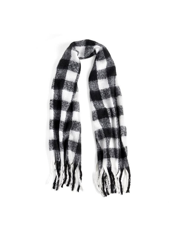 COCO + CARMEN Supersoft Buffalo Plaid Black & White Oblong Scarf