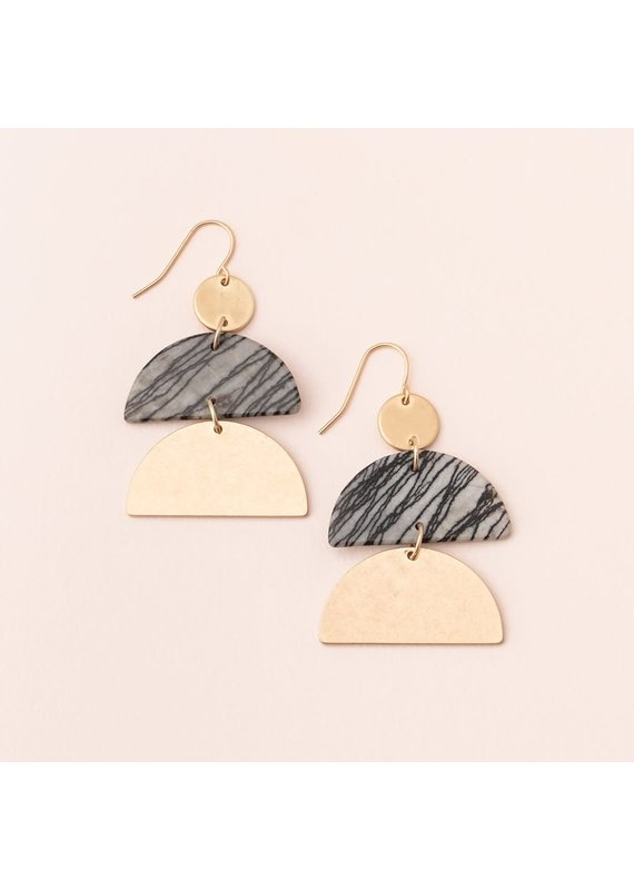 Scout Picasso Jasper & Gold Half Moon Earring