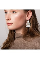 Scout Petrified Wood & Silver Half Moon Earring