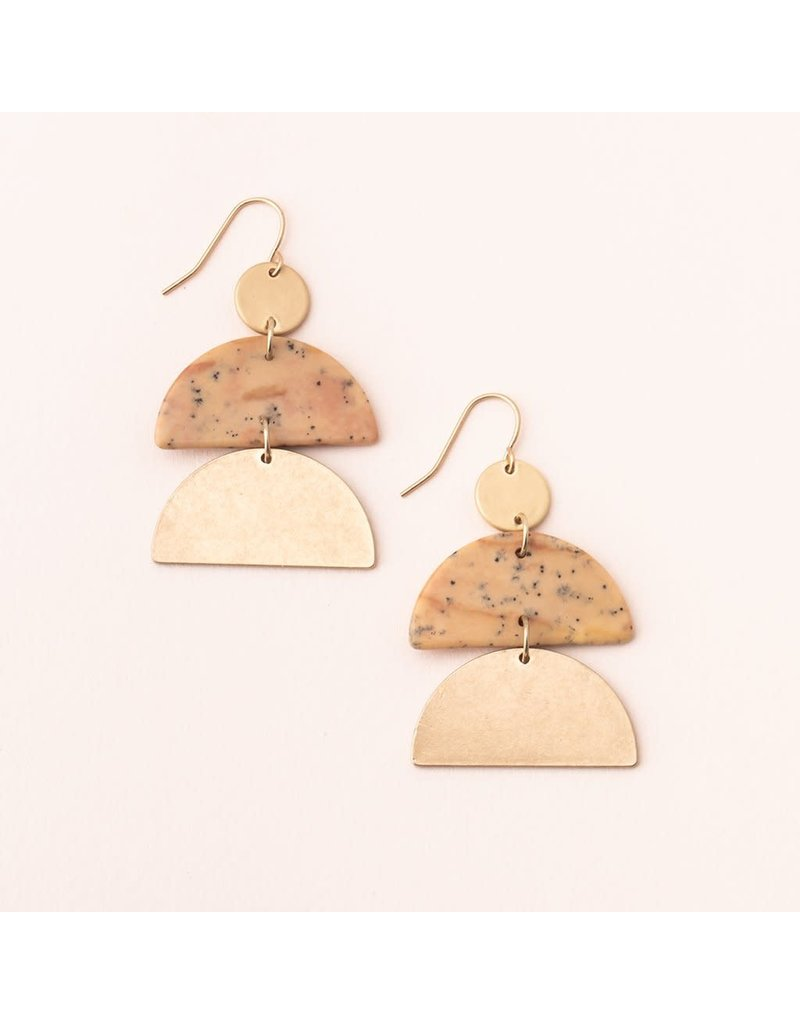 Scout Petrified Wood & Gold Half Moon Earring