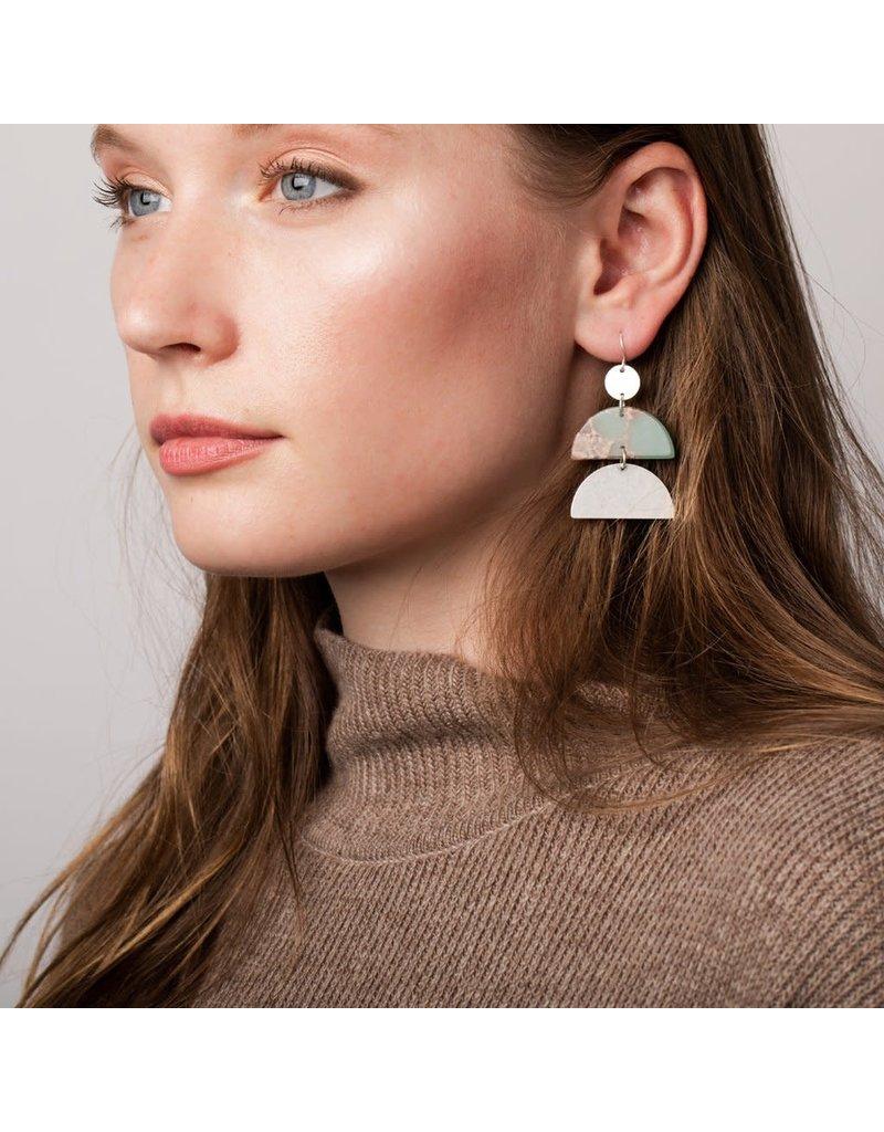 Scout Aqua Terra & Silver Half Moon Earring