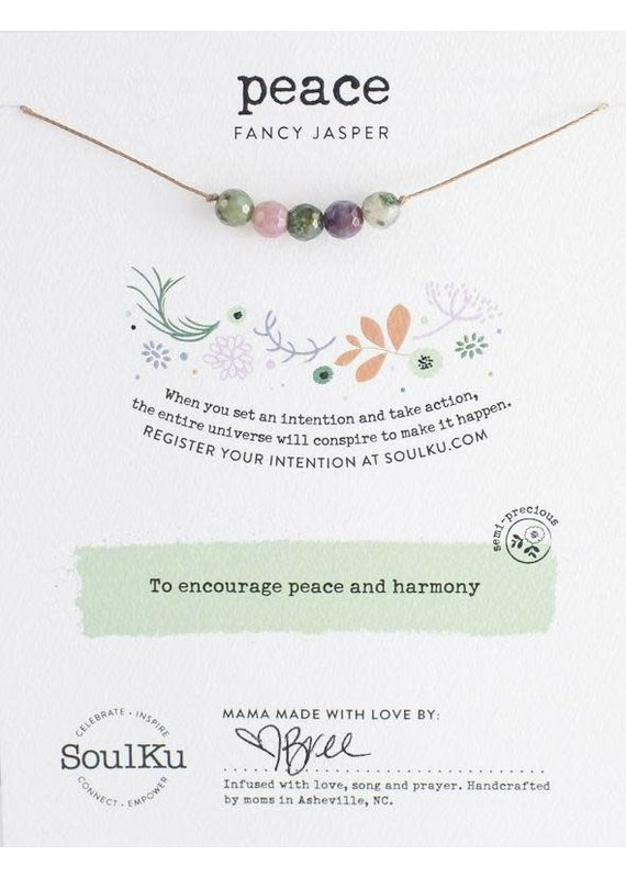 SoulKu Fancy Jasper Intention Peace Necklace