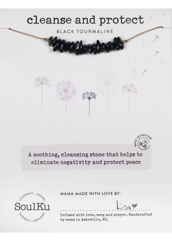SoulKu Black Tourmaline Gemstone Seed Cleanse Necklace