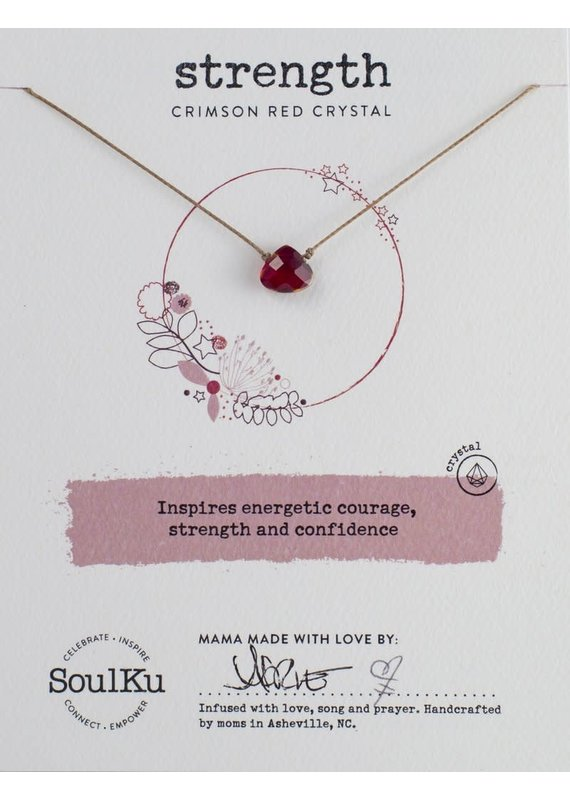 SoulKu Crimson Red Crystal Soul Shine Strength Necklace