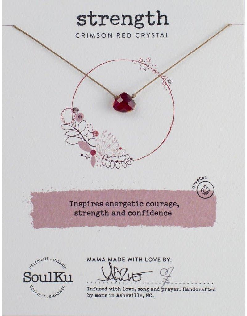 SoulKu Crimson Red Crystal Soul Shine Strength Necklace