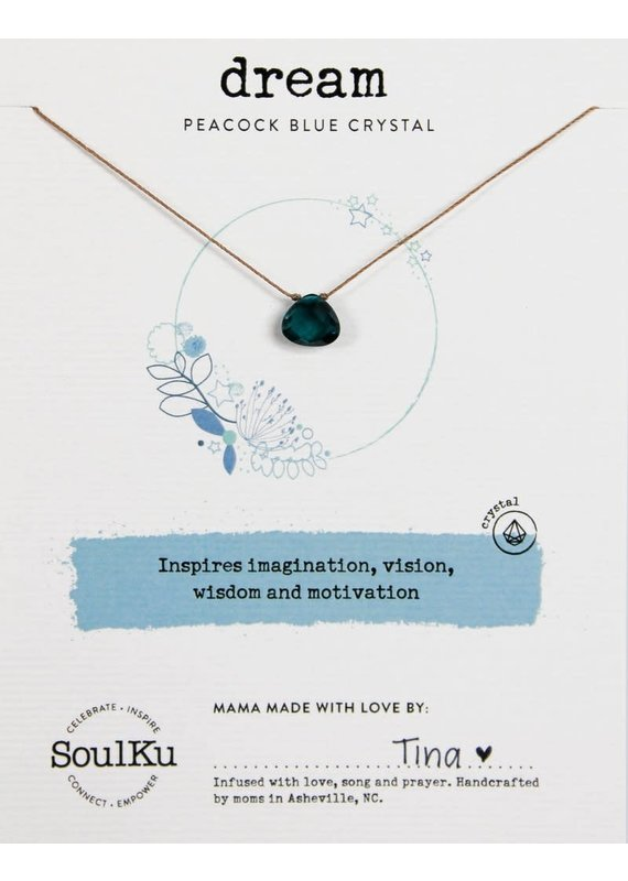 SoulKu Peacock Blue Crystal Soul Shine Dream Necklace