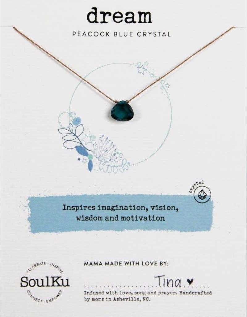 SoulKu Peacock Blue Crystal Soul Shine Dream Necklace
