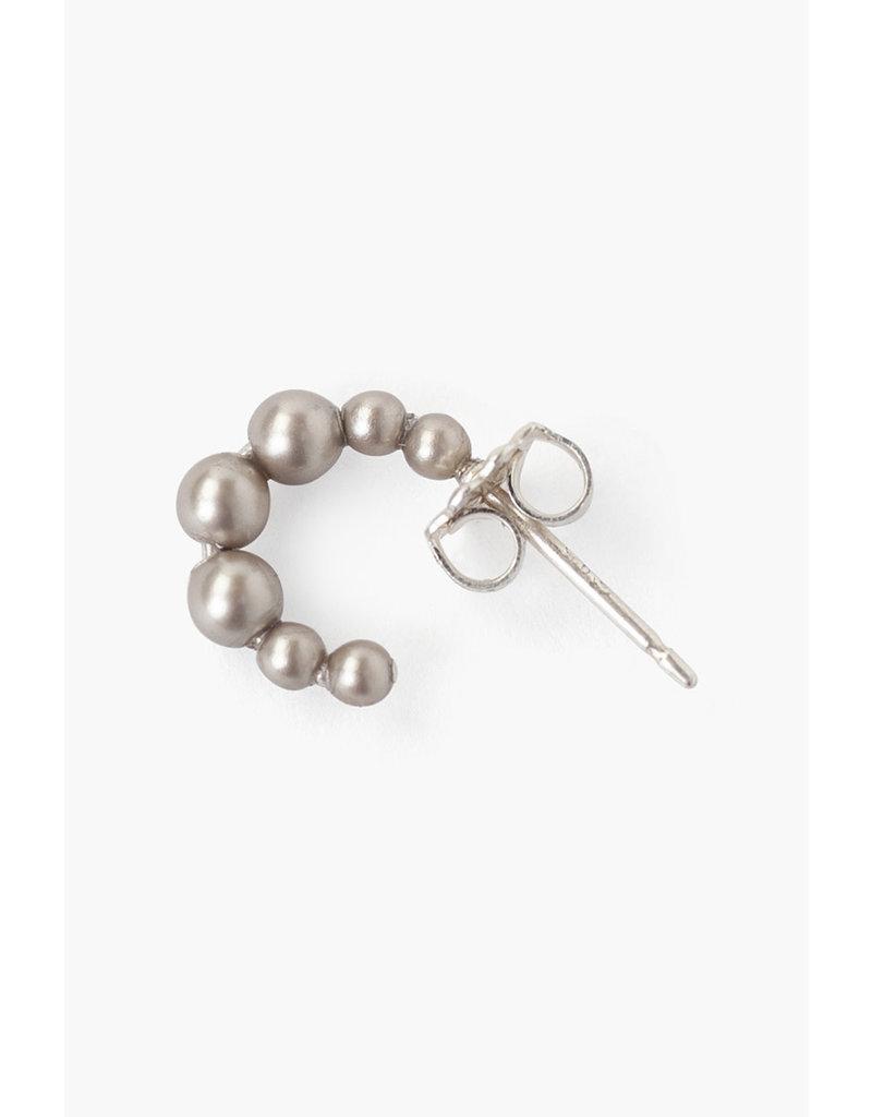 CHAN LUU Sterling Silver Tiny Platinum Swarovski Pearl Earrings