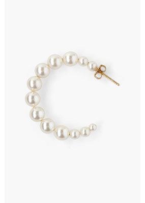 CHAN LUU 18k Gold Plated Medium Cream Swarovski Pearl Earrings