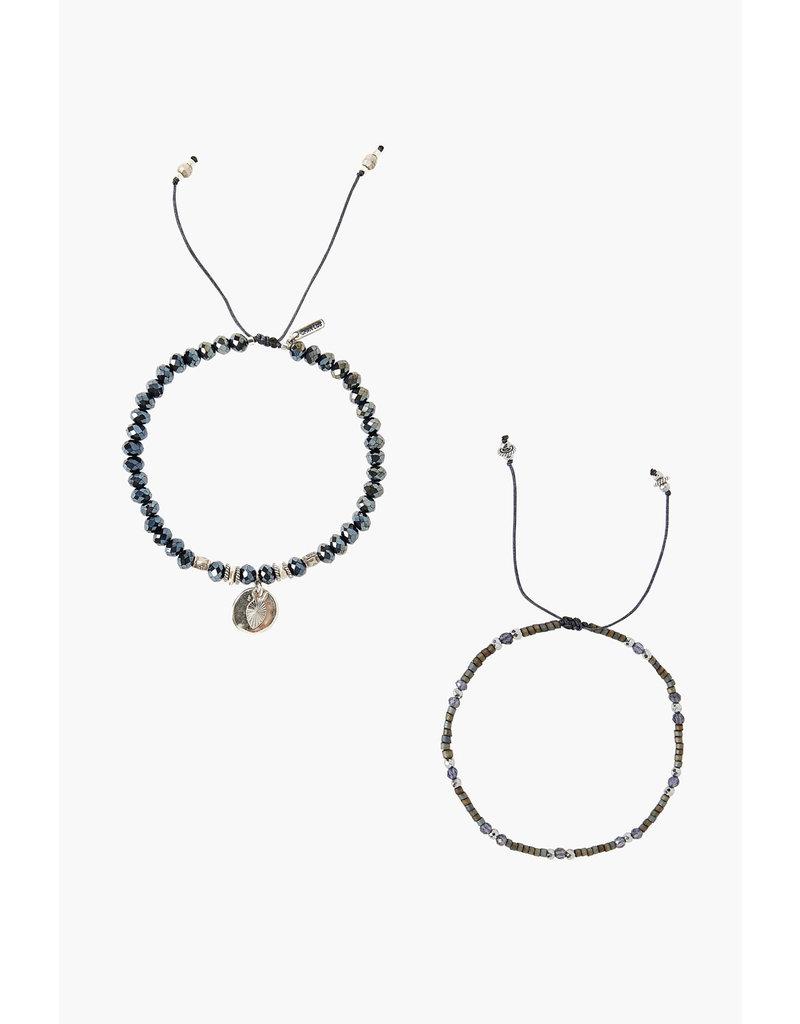 CHAN LUU Sterling Silver Midnight Set Adjustable Bracelets