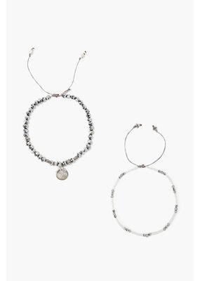 CHAN LUU Sterling Coated Silver Set Adjustable Bracelets