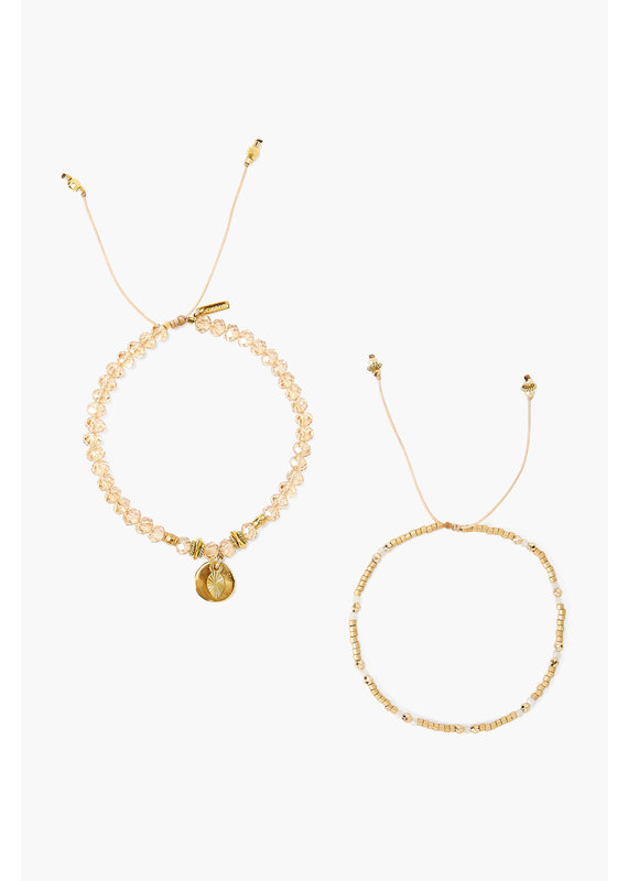 CHAN LUU Gold Sunflower Set Adjustable Bracelets