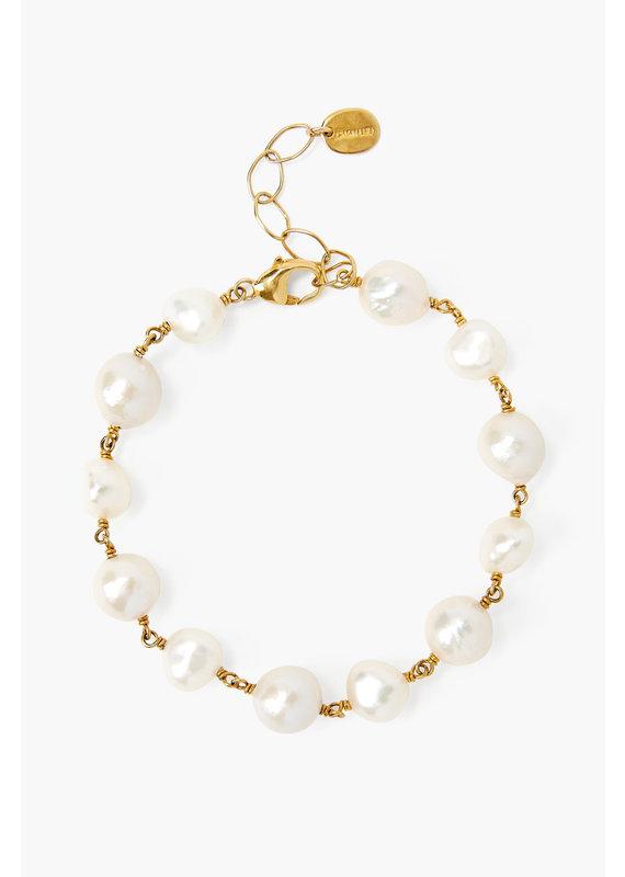 CHAN LUU Gold White Pearl Bead Bracelet