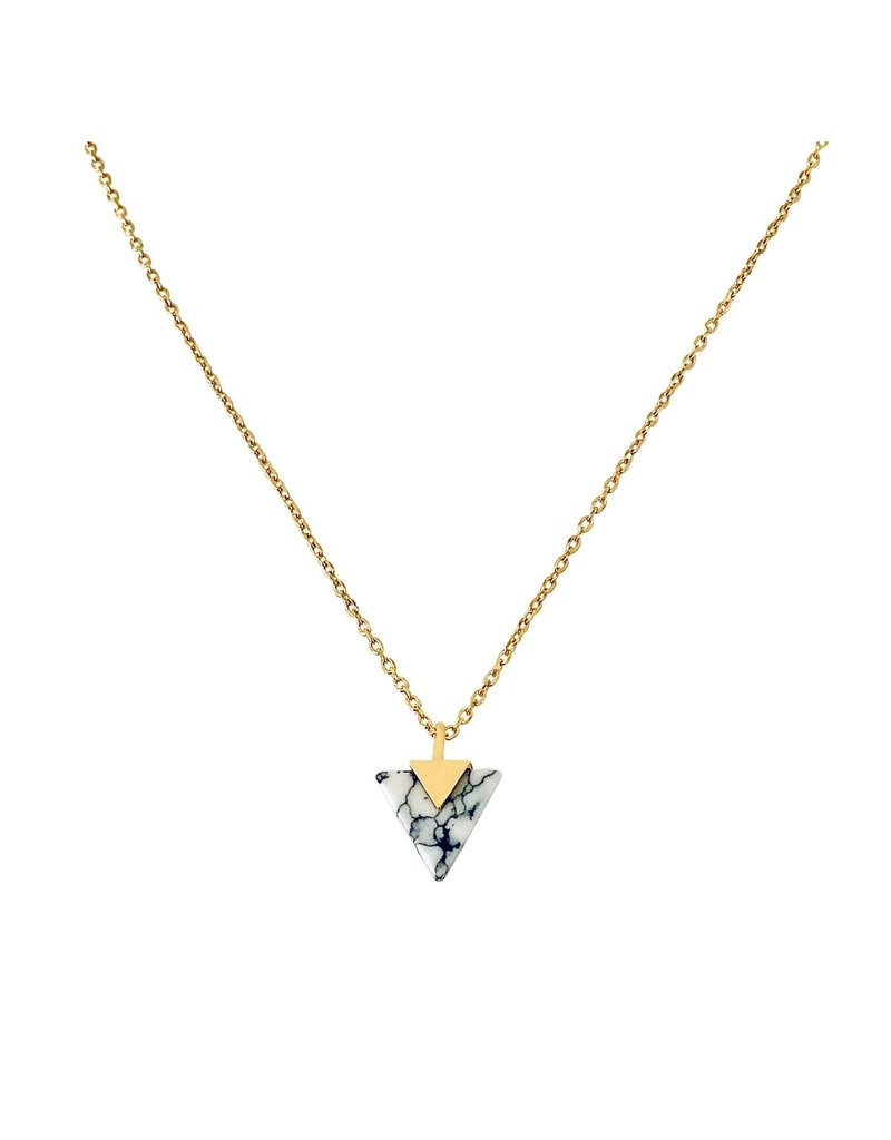 Modern Opus V Marble Triangle Necklace