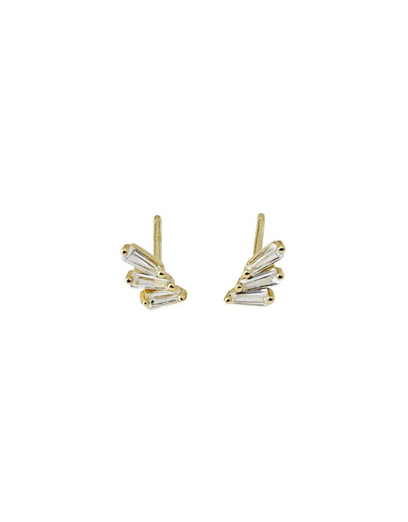 Modern Opus Sterling Gold Plate 3 Baguette Post