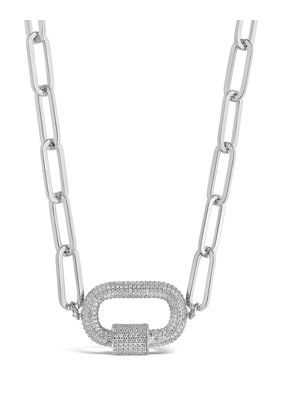 Sterling Forever Silver Carabiner Linked Lock Necklace
