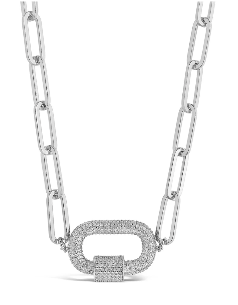 Sterling Forever Silver Carabiner Linked Lock Necklace