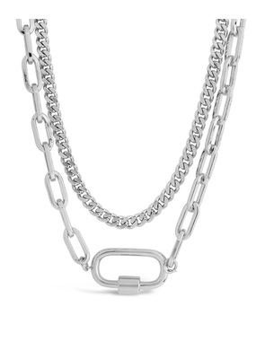 Sterling Forever Silver Polished Carabiner Layered Chain