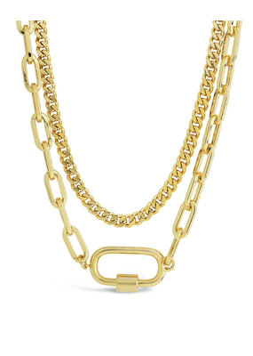 Sterling Forever Gold Polished Carabiner Layered Chain