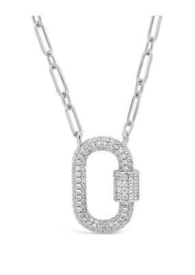 Sterling Forever Silver Carabiner Lock Necklace