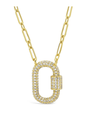 Sterling Forever Gold Carabiner Lock Necklace