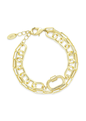 Sterling Forever Gold Carabiner Lock & Link Layered Bracelet