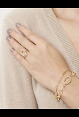 Sterling Forever Gold Carabiner Lock & Link Layered Bracelet