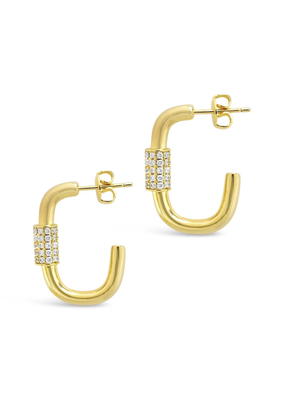 Sterling Forever Gold Oval Carabiner Hoops
