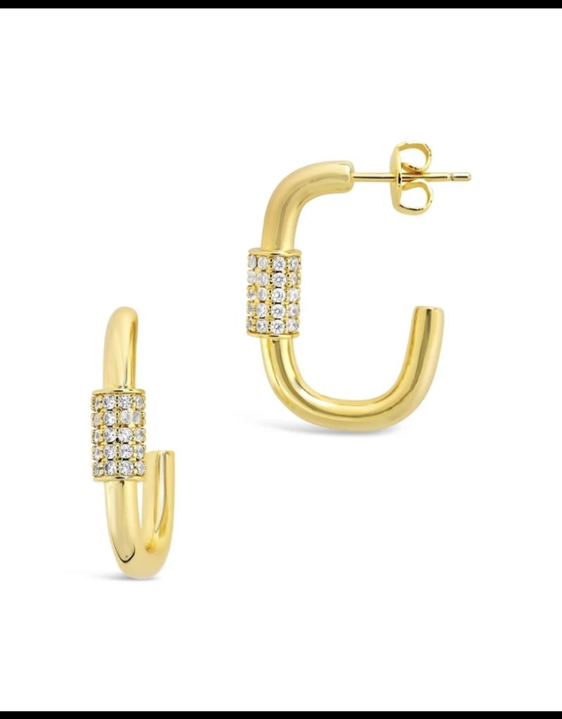 Sterling Forever Gold Oval Carabiner Hoops